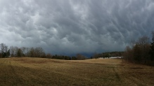 Storm clouds over the back meadow